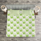 Green Quilted Bedspread & Pillow Shams Set, Foamy Cute Beer Glasses Print