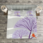 Winter Quilted Bedspread & Pillow Shams Set, Purple Trees Snow Bird Print image