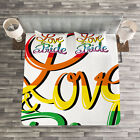 Pride Quilted Bedspread & Pillow Shams Set, Love Text Rainbow Colors Print image