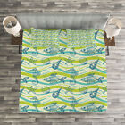 Starfish Quilted Bedspread & Pillow Shams Set, Waves Bubbles Print image