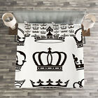 King Quilted Bedspread & Pillow Shams Set, Symbol of Royalty Crowns Print image
