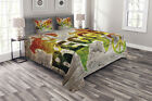 Rasta Quilted Bedspread & Pillow Shams Set, World Map Reggae Quote Print