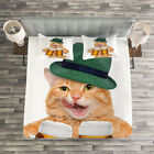 Cat Quilted Bedspread & Pillow Shams Set, Cool Cat Hat Beer Mug Funny Print