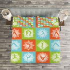 Yoga Quilted Bedspread & Pillow Shams Set, Mind and Body Poses Lotus Print image