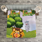 Zoo Quilted Bedspread & Pillow Shams Set, Animals in Forest Safari Print image