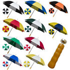 Large Mens Strong Windproof Golf Umbrella Rain Sun Canopy Brolly Wooden Handle