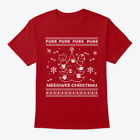 Meeowee Cat Ugly Christmas Sweater Hanes Tagless Tee T-Shirt