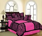 Pink Safari Animal Leopard Print Comforter Set - 7 Piece Suede
