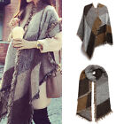 Ladies Girls Knitted Plaid Soft Scarf Blanket Winter Warm Wrap Extra Thick Shawl