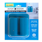 INTERDESIGN 23213 POWER CLING DUAL TOOTHBRUSH & RAZOR HOLDER