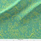 Aqua Yellow Doodle Sketches Fabric Printed by Spoonflower BTY
