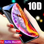 10D Full Cover Curved Tempered Glass Screen Protector For iPhone X XS Max XR