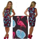 BLACK BODYCON WIGGLE PINK FLAMINGO DRESS / TOP  SIZE 8 - 16  ALTERNATIVE GOTH