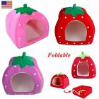 Soft Strawberry Pet Dog Cat Bed House Kennel Doggy Warm Dog Cushion Basket S M L