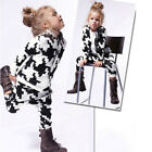 Infant Baby Girls Boys Daily Print Hooded Zip Top Coat+Pants Warm Clothes K8