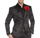 Angelino Sky Men's Two Button Modern Fit Floral & Wavy Blazer Sport Coat Black