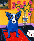 Oil Painting Art Print on Canvas Blue Dog Home Wall Decor