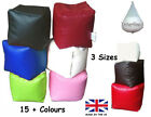 CUBE+Square+FAUX+LEATHER+Beanbag+Seat+Foot+Stool+Bean+Bag+Pouffe+FILLED+OR+COVER