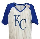 Kansas City Royals MLB Majestic Women's Pinstripe Raglan V-Neck T-Shirt, nwt on Ebay