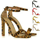 Womens Strappy Sandals Block High Heel Ladies Ankle Strap Party Peep Toe Shoes