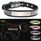 Reflective Leather Personalized Engraved Dog Collar Puppy Cat Pet Collars ID Tag