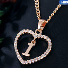 Personalized Name Initial Letter Necklace Rose Gold Color Crystal Heart 74-2/3/4