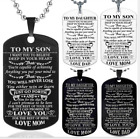 Fm- Fashion To My Son Letter Dog Tag Pendant Necklace Dad Mom Jewelry Gift Utili