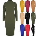 Womens High Turtle Polo Neck Side Gold Buttons Long Sleeve  Bodycon Midi Dress