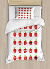 Emoji Duvet Cover Set with Pillow Shams Apples with Faces Happy Print