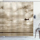 Vintage Airplane Shower Curtain Fighter Plane Print for Bathroom