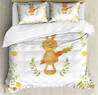 Funny Duvet Cover Set with Pillow Shams Smiling Rabbit Summer Print, used for sale  Waltham