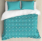 Persian Duvet Cover Set with Pillow Shams Moroccan Floral Swirls Print image