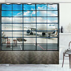China Shower Curtain Shangai Airport Plane Print for Bathroom