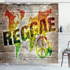 Rasta Shower Curtain World Map Reggae Quote Print for Bathroom