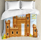 Video Game Duvet Cover Set with Pillow Shams Castle Leisure Hobby Print