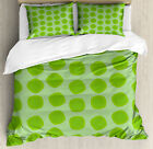 Lime Green Duvet Cover Set with Pillow Shams Simple Geometrical Print