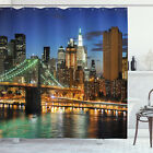 City Shower Curtain New York at Night Bridge Print for Bathroom