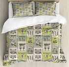 Egyptian Duvet Cover Set with Pillow Shams Hieroglyphs Animals Print image