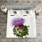 Artichoke Quilted Bedspread & Pillow Shams Set, Blooming Botanic Food Print