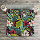 Plant Quilted Bedspread & Pillow Shams Set, Exotic Nature Image Print image