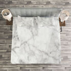 Marble Quilted Bedspread & Pillow Shams Set, Lines Stained Grunge Print image
