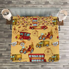 Cars Quilted Bedspread & Pillow Shams Set, Steampunk Vintage Vehicle Print