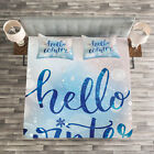 Winter Quilted Bedspread & Pillow Shams Set, Hello Winter Quote Snow Print image
