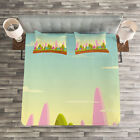 Forest Quilted Bedspread & Pillow Shams Set, Fantasy Cartoon for Kids Print image