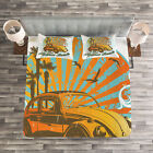 Cars Quilted Bedspread & Pillow Shams Set, Summer Season Design Car Print image