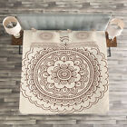 Henna Quilted Bedspread & Pillow Shams Set, Asian Civilization Tattoo Print image