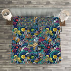 Space Quilted Bedspread & Pillow Shams Set, Science Fiction Image Print image