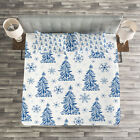Winter Quilted Bedspread & Pillow Shams Set, Abstract Blue Trees Snow Print image