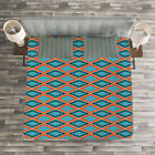 Geometric Quilted Bedspread & Pillow Shams Set, Rectangles Squares Print image