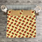 Ladybugs Quilted Bedspread & Pillow Shams Set, Cute Bugs Cartoon Print image
